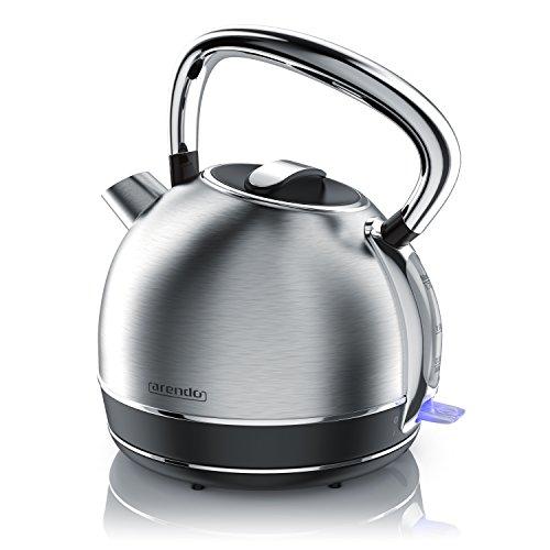 Arendo - Retro Edelstahl Wasserkocher Teekessel im Vintage Style - max. 2200 Watt - austauschbarer Kalkfilter - Füllmenge max. 1.7 Liter - automatische Abschaltung - Silber Edelstahl gebürstet