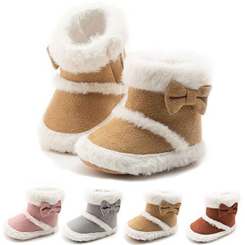 Meckior Infant Baby Boys Girls Winter Snow Boots Mid Calf Warm Fleece Anti-Slip Soft Sole Toddler Prewalker Outdoor Boots Newborn Nursling Crib Shoes