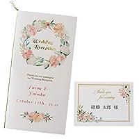 いっぽ 結婚式 席次表 印刷込み キット ペールピンク リース セット 名入れ (席次表・席札(Aタイプ)セット, 70部セット)