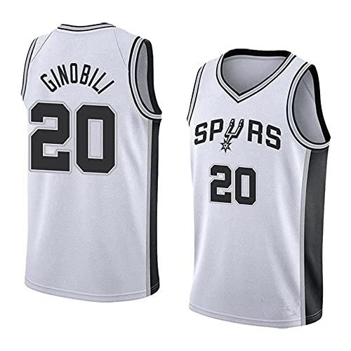 Camiseta de Baloncesto Chaleco Hombre NBA Basketball Spurs No. 20 Jersey Casual Camisetas Blancas de Media Manga, M