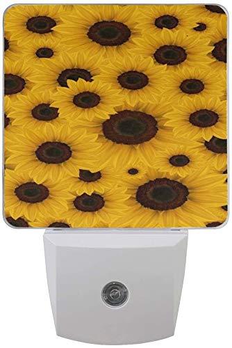 Paquete de 2 lámparas de luz nocturna LED enchufables con girasoles, impresión amarilla con sensor de anochecer a amanecer para dormitorio, baño, pasillo, escaleras