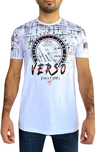 Etzo 3D Pressed Graphic Short Sleeve T-Shirt for Men | Premium Stretch Fashion T-Shirt Top for Men (White, XX-Large)