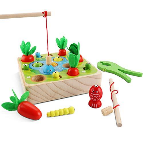 Jooheli 3 in 1 Angelspiel Holz Kinder, Holzspielzeug Montessori Spielzeug, Sortierspiel Holz für Kinder und Karottenernte, Motorik Spielzeug Kleinkind Lernspielzeug Geschenk für Jungen Mädchen