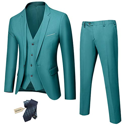 YND Men's Slim Fit 3 Piece Suit, One Button Solid Jacket Vest Pants Set with Tie - Green - Small, 5'7-5'10, 140/160 lbs