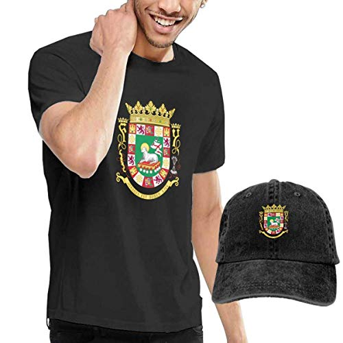 Quitelike Coat of Arms of The Commonwealth of Puerto Rico Black Fashion Sport Casual T-Shirt + Adjustable Cowboy Hat Set for Men Camisetas de Hombre con Gorra