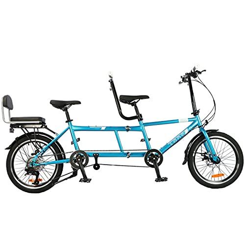 HXXXIN Bicicletas Plegables, Viajes En Pareja Y Turismo, Dos Personas Viajan En Dos Personas Y Tres Personas En Dos Bicicletas para Padres E Hijos,Azul