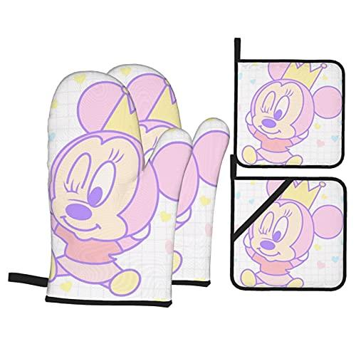 TIGGA Juego de guantes y soportes para ollas de Mickey Mouse Minnie con tela impermeable de doble cara para cocina, cocina, hornear, barbacoa