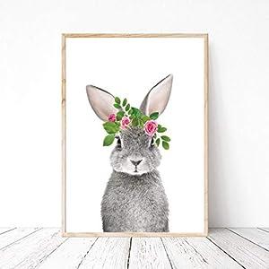 Din A4 Kunstdruck ungerahmt – Hase Häschen Kaninchen mit Blumenkranz Fotokunst rosa pink Geschenk Druck Poster Bild