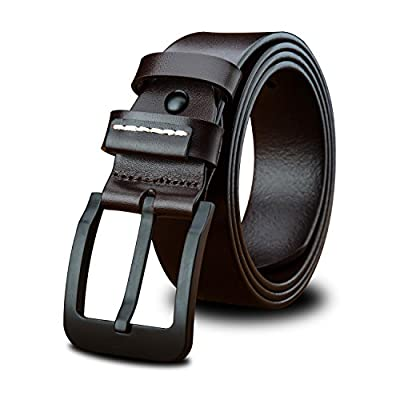 LUCIANO Casual Italy Cowhide Genuine Leather Black & Brown Belt Men's Dress Belts BR-29