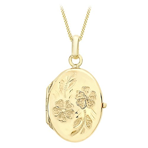 Carissima Gold 9ct Rose Gold Large Oval Daisy Lock Pendant on Curb Chain Necklace of 46cm