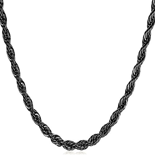 3mm Thin Chain for Pendant Ion-plating Black Metal Stainless Steel Twisted Rope Chain Necklace, 26