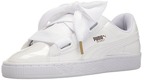 PUMA Women's Basket Heart Sneaker, White-White, 8