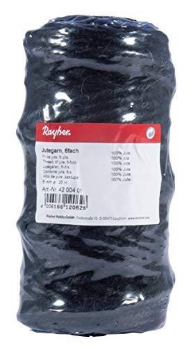 Rayher 4200401 Jutegarn, 6fach, 6 mm ø, Spule 35 m, Jute-Schnur, Bindegarn, Bindeschnur, Dekokordel, Jutekordel, Farbe schwarz