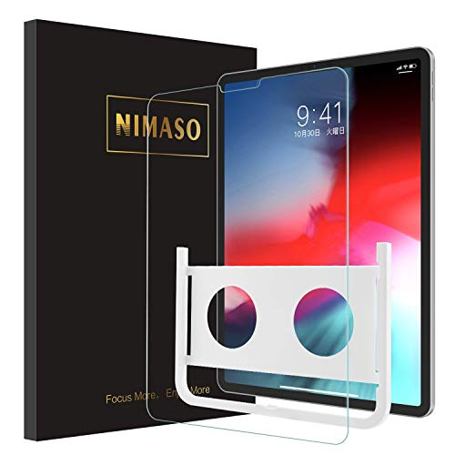 Nimaso【ガイド枠付き】iPad Pro 12.9 インチ(2018秋新型)用 強化ガラス液晶 保護フィルム 旭硝子製/3DTouch対応/高硬度/高透過率