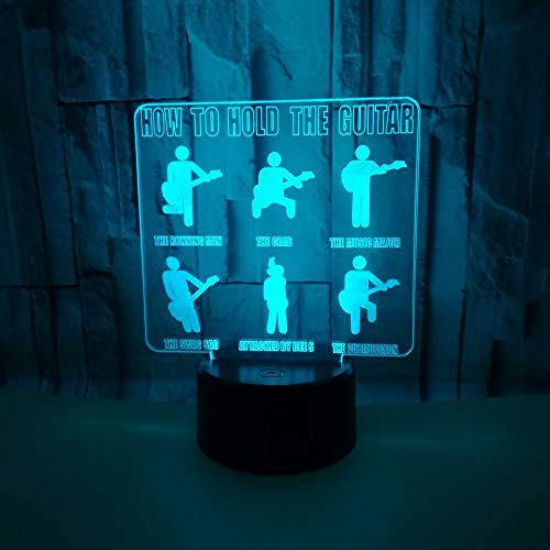 3D Veilleuse Enfant LED Lampe de Chevet Optiques Illusions Lampe de Nuit 7 Couleurs Ajustables Câble USB Cadeau Jouets (Guitare),Interrupteur Tactile