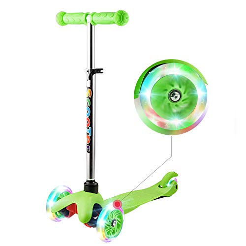 WeSkate Mini Scooter for Kids, Lights Up Scooter for Girls Boys, Toddlers Scooter with 4 Level Adjustable Height, Design for Children Ages 2-9