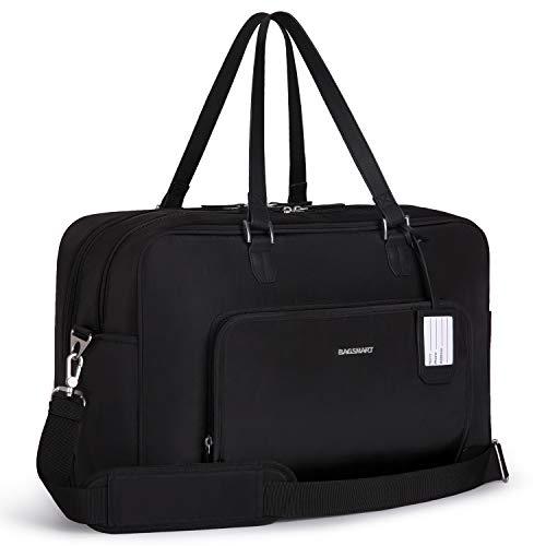 BAGSMART Weekender Reisetasche Handgepäck mit Schuhfach 15,6 Zoll Laptopfach Groß Schwarz