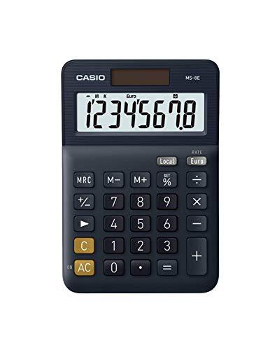 CASIO - Calcolatrice da tavolo MS-8E, 8 cifre, funzione di conversione valute (Euro) e tasto correzione ultima cifra. Alimentazione combinata