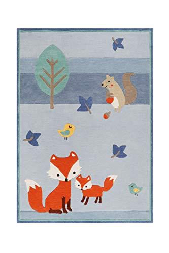 Esprit Home, Moderner Kinderteppich für Kinderzimmer, E-Fox in The Wood (160 x 230 cm, blau)