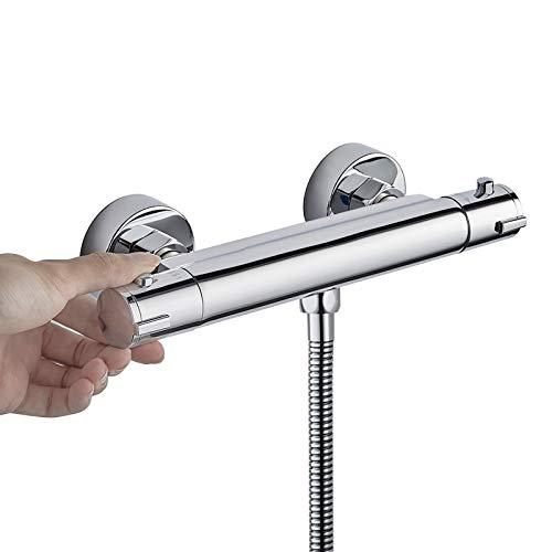 BONADE Duschthermostat Thermostatbatterie Sicherheitssperre bei 38°C Thermostat Brausebatterie Brausethermostat Thermostatarmatur aus Messing Mischbatterie Chrom Wannenbatterie für Bad Badewannen