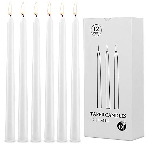 White Taper Candles - 12 Pack Dripless Ivory Tapered Candles 10 Inch Tall Unscented Dinner Candles for Home Decoration, Birthday, Wedding, Parties, Ceremonies, Halloween, Christmas