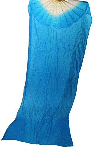MEETOZ 1.8M Hand Made Belly Dance Dancing Silk Bamboo Long Fans for Party Stage Performance Silk Bamboo Long Fans for Party Stage Performance (Blue)