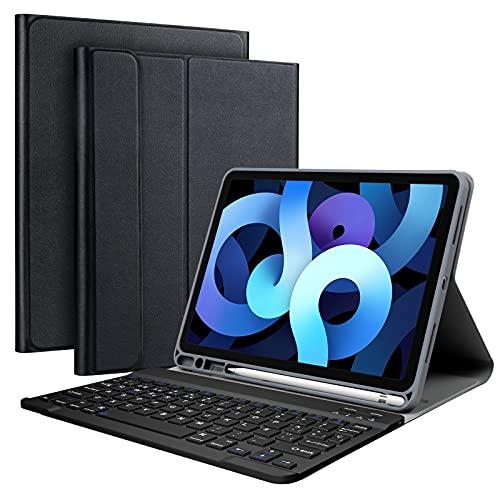 """Olycism Funda con Teclado Español Ñ para iPad Air 10.9"""" 2020 (4.a generación)/iPad Pro 11 2020/2018 (1.ª y 2.ªgeneración), Desmontable Teclado Bluetooth para iPad Air 4 10.9 (Black)"""