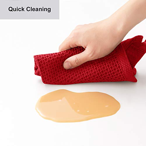 100% Cotton Kitchen Dish Cloths, 8-Pack Waffle Weave Ultra Soft Absorbent Dish Towels Washcloths Quick Drying Dish Rags, 12x12 Inches, Red
