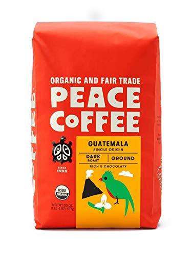 Peace Coffee Guatemala, Dark Roast (Guatemala Single Origin) Organic Fair Trade Coffee, Ground 20 oz. Bag