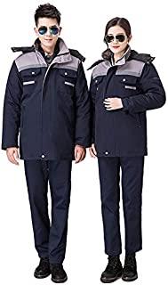 Man Woman Working Uniforms 3 in 1 Winter Windproof Warm Cotton Jacket Coat with Detachable Liner for Separately Wearing