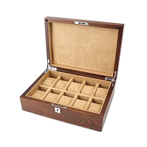 Caja de almacenamiento de madera con cerradura para relojes vintage con caja de almacenamiento de exhibición de reloj, 10 ranuras (color: A)