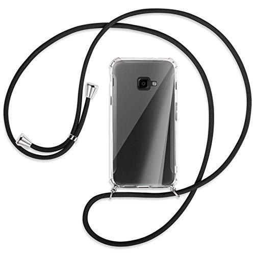 mtb more energy® Handykette kompatibel mit Samsung Galaxy Xcover 4, 4S (SM-G390, G398 / 5.0'') - schwarz - Smartphone Hülle zum Umhängen - Anti Shock Full TPU Hülle