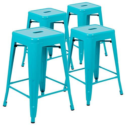 Flash Furniture Barhocker, 61 cm hoch, aus Metall, stapelbar, Blaugrün, 4 Stück