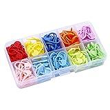 YUEMING 150 Piezas Marcadores de Puntos Ganchillo,Crochet Marcadores de Plástico,Marcadores Puntada Colorida,con Compartimento Caja, para Tejer, Coser