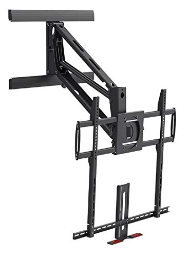 Monoprice Above Fireplace Pull-Down Full-Motion Articulating TV Wall Mount Bracket For TVs 55 to 100 inches, Max Weight 154lbs, VESA Patterns Up to 800x600, Rotating, Height Adjustable Black