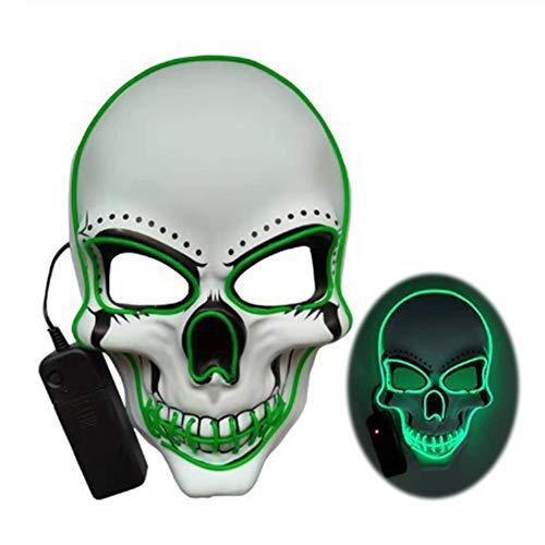 Máscara com luz de LED, máscara assustadora de caveira da morte para cosplay de Halloween, máscara divertida luminosa brilhante para festas, festivais, danças, raves, máscaras verdes