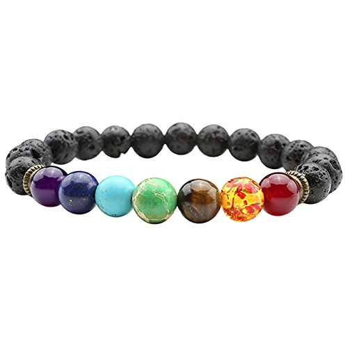 Jovivi Women 7 Chakra Lava Rock Stone Bracelet Men Healing Crystals Gemstones Prayer Mala Beads Yoga Aromatherapy Essential Oil Diffuser Bracelet