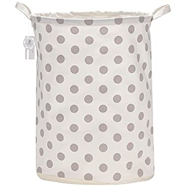 Sea Team 19.7  Large Sized Waterproof Coating Ramie Cotton Fabric Folding Laundry Hamper Bucket Cylindric Burlap Canvas Storage Basket with Stylish Grey Polka Dot Design