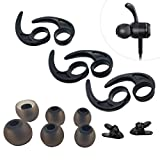 Pack: 3 Pairs (M) Ear Wing Tips Silicone Ear Hooks Replacement Ear Fins, 3 Pairs(LMS) Eartips Replacement Earbuds Tips for in Ear Sport Earphone, 2 Pcs 360° Cord Clips, for Jaybird x4 X3 x2 x More