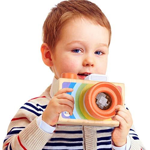 Lukame Videocámara de simulación Cámara Madera Hecho a mano Lindo Bebé Creativo Juguetes hechos a mano Decoración para la foto(A)