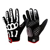Rungear Cycling Gloves Bike Bicycle Gloves - Breathable Gel Pad Shock-Absorbing Anti-Slip - Outdoor MTB DH Road Moutain Touch Recognition Full Finger Gloves for Men Women (Black/White, XX-Large)