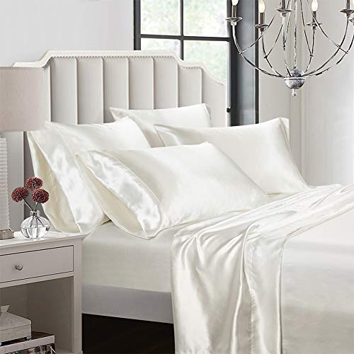 AiMay 6 Piece Satin Bed Sheet Set Deep Pocket Luxury Rich Silk Silky Super Soft Solid Color Hypoallergenic Reversible...