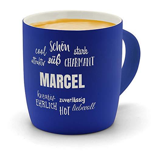 printplanet - Kaffeebecher mit Namen Marcel graviert - SoftTouch Tasse mit Gravur Design Positive Eigenschaften - Matt-gummierte Oberfläche - Farbe Blau