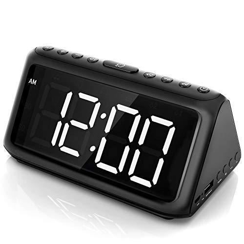 Sveglia Digitale da Comodino 4 Livelli Luminosità Rumore Bianco Dormire Aid Allarmi Snooze USB con Adattatore ELEHOT