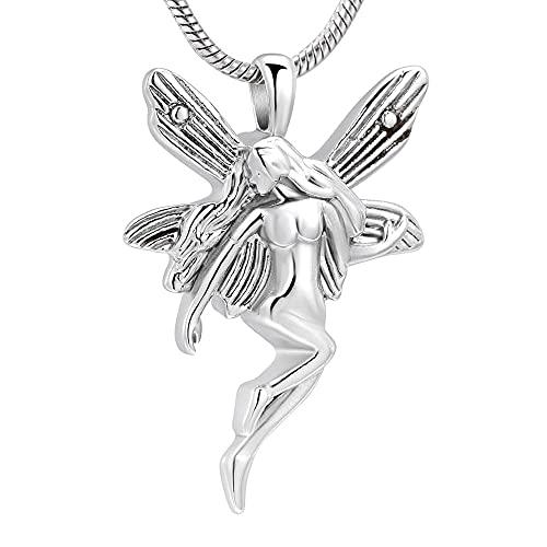 Colar de urna anjo fada da paz, colar de cremação, joia de recordação, memorial, anjo funeral, pingente de cremação para mulheres