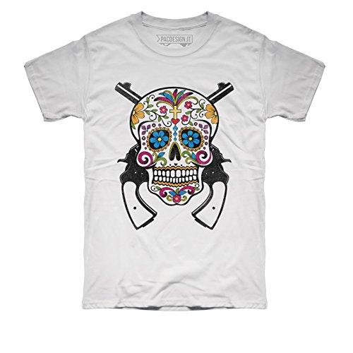 PacDesign T-Shirt Uomo Tattoo Old School Mexican Skull Teschio Rock Vintage DK0208A