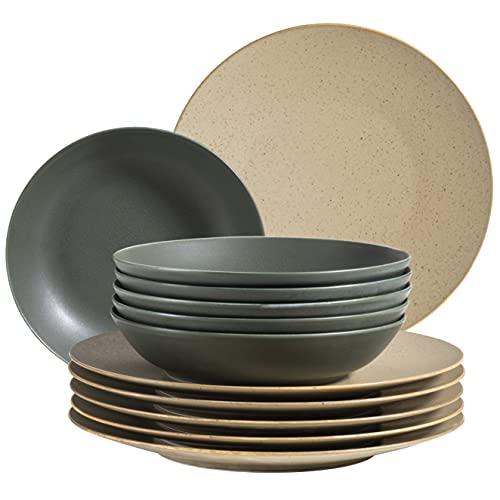 MÄSER 931861 Série Happy Valley Service de table pour 6 personnes au look vintage naturel, 12 assiettes avec vernis mat fait main Vert olive/beige, porcelaine