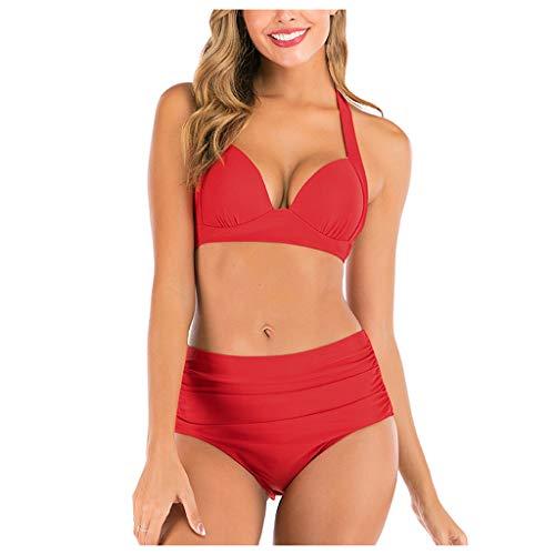 IHEHUA Bikini para mujer, monocromático, dos piezas, para la playa, con sujeción al cuello, cintura alta, bañador con espalda descubierta, ropa de playa con acolchado A-rojo. 44