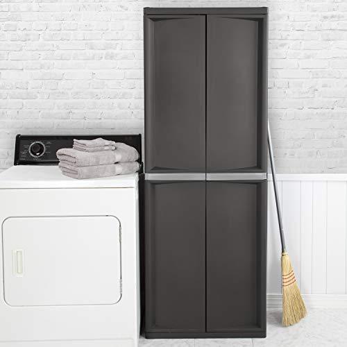 hdx storage cabinets Sterilite 01423V01 4 Shelf Cabinet, Flat Gray, 1-Pack