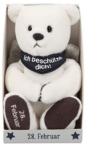 Depesche 8139.059 - Schutzengel Bär aus Plüsch, ca. 9 cm, mit Datum 28. Februar, Geschenk für Geburtstag, Jahrestag oder Hochzeitstag